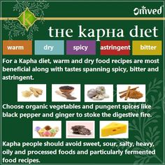 The Kapha diet in brief - Ayurveda Dosha
