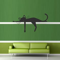 Wall decal decor decals art sticker cat animal dream funny cheerful cartoon (m379)