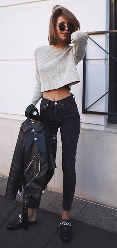 street style perfection / crop sweater + biker jacket + skinnies + loafers