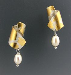 La Petite Gold, Silver, & Pearl Earrings created by Judith Neugebauer on Artful Home