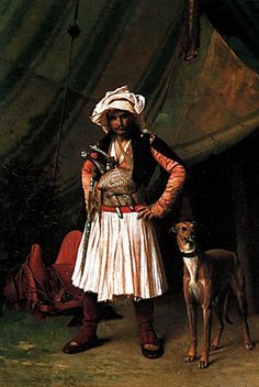 """Bashi Bazouk and his Dog"". Painting by Jean-Léon Gérôme (1824-1904). Painted in 1865, in Egypt.  In fact, this 'başıbozuk' (mercenary, or irregular soldier of the Ottoman army) is originating from Epirus or Albania and can be recognized by his half-long skirt-like garment (called 'fustanella' in Greece).  These military were generally called 'Arnavut'/'Arnaut' (=Albanian) in the 19th century."