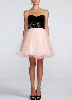Strapless Velvet Bodice and Tulle Skirt Dress - David's Bridal- mobile