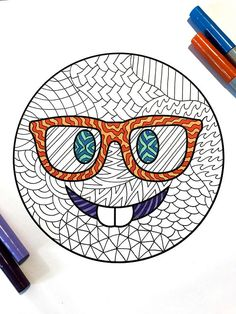 8.5x11 PDF coloring page of a nerdy emoji face with glasses and buck teeth! This is a DIGITAL DOWNLOAD PDF. This is not a physical product. 1) Download the PDF that comes to your email after purchase 2) Save the PDF to your computer 3) Print and color the PDF as many times as you like!