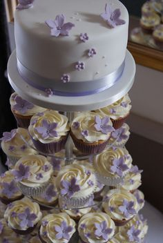 Lilac  Silver Cupcake Tower by Cakes by Occasion, via Flickr