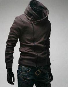 Mens Trendy Cool Side Zip-Up Hoodie