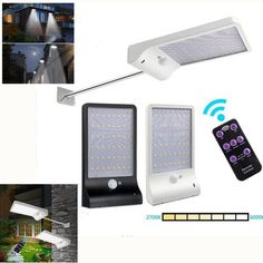 Solar Powered 48 LED PIR Motion Sensor Wall Light 7 Color Temperture Street Lamp with Remote Control #StreetLamp