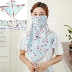 dustproof and sunscreen ladies scarf (chiffon beads) mask by Ukuleleslife At Home Face Mask, Easy Face Masks, Diy Face Mask, Nose Mask, Sewing Patterns Free, Free Sewing, Bella T Shirts, Diy Scarf, Beaded Chiffon