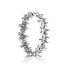 Delicate flowers, embellished with glistening stones, are linked together to resemble a daisy chain. The ring is great for stacking - wear it with other floral pieces to maximize the botanical effect. #PANDORA #PANDORAring #Spring2015