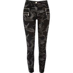 Grey camo zipped super skinny trousers - skinny trousers - trousers - women