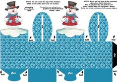 A marvelous box topper template which folds together to form two sitting Jolly Snowman toppers. Easy to follow instructions are also provided on the sheet. Perfect for adding Christmas treats, coins, gifts, chocolates, cup cakes and more! Easy for children to also create for craft projects. Enjoy! xk