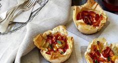 Heirloom tomato, tapenade & ricotta tarts