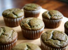 Banana Smoothie Muffins - made with bananas, spinach, strawberries and whole wheat flour.  155 calories per muffin!
