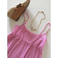 """• Lilly Pulitzer • Pink + White • Gold hardware • Excellent condition, minor pilling • Lilly tag was cut out, but the straps are still in tact • Bust: 14"""" • Length: 35"""" • NO TRADES/HOLDS • All reasonable offers accepted • Lilly Pulitzer Dresses"""