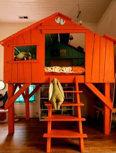 What child wouldn't adore this Tree House Bed (actually we'd rather like a double sized one) - similar indoor Tree House Beds cost around £2000.  Not got the room? If you've got room for bunk beds you could adapt the design or if you're not a handyman then two story Garden Playhouses are a good alternative, starting from around £300.