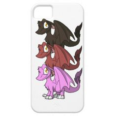 SD Furry Dragon Trio 1 iPhone Case #zazzle #girly #artofganenek #dragons #pink #chocolate #berry #red #sweet #dessert #iphonecases