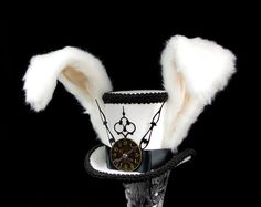 The White Rabbit - Rabbit Eared Black and White Steampunk Mini Top Hat Fascinator, Alice in Wonderland, Mad Hatter Tea Party, Derby Hat Steampunk Top Hat, Steampunk Halloween, Steampunk Wedding, Steampunk Costume, Halloween Kostüm, White Rabbit Alice In Wonderland, Alice In Wonderland Costume, White Rabbit Costumes, Horse Costumes