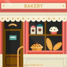 Afficher la fenêtre boulangerie Vecteur Premium