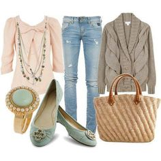 A fashion look from March 2011 featuring chunky cable knit cardigan, shirt top and blue skinny jeans. Browse and shop related looks. Love Fashion, Autumn Fashion, Fashion Outfits, Womens Fashion, Summer Outfits, Cute Outfits, Beautiful Outfits, Fall Outfits, Green Rings