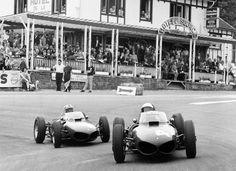 1961Ferrari Dino 156 driver Phil Hill at Spa Franconshamps GP