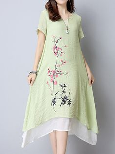 Vintage 3/4 Sleeve Floral Printed Fake Two Pieces Dresses Shopping Online - NewChic Mobile.