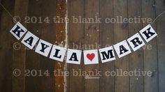 CUSTOM NAME BANNER Wedding Engagement Garland Bunting Decoration Photo Prop