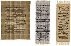Anni Albers. Work in progress. Experimenting. 1950 - 1962. 1 Black-White-Gold I, 1950. Cotton, jute and metallic ribbon. 2 Haiku, 1961, Plain weave alternating metallic and hemp with supplementary...