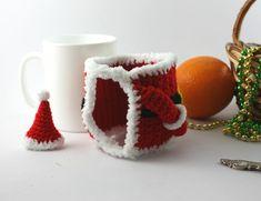 Santa mug cosy crochet cup cover Christmas mug New Year New Years Hat, Crochet Mug Cozy, Christmas Mugs, Etsy Christmas, Christmas Ideas, Mug Warmer, Santa Mugs, Red Mug, Santa Ornaments