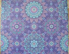 Vintage Wallpaper purple ALHAMBRA wall vinyl paper violet retro turquoise decoupage 70s., via Etsy.