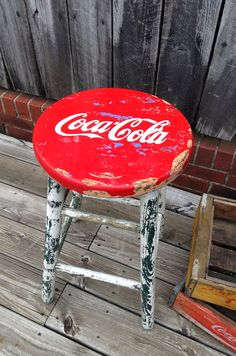 Vintage Coca-Cola Wooden Stool - I want!