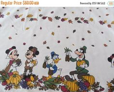 FALL FLASH SALE Thanksgiving Disney Tablecloth 96 x 60 Cotton Blend - Adorable!! by CellarDeals on Etsy