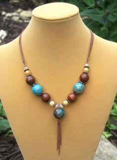 OOAK Impression jasper and wood tribal necklace   auNaturaleJewelry - Jewelry on ArtFire