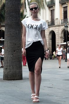 Oversized Dutch Vogue Magazine Tee T Shirt, H Black High Side Split Slit Midi Pencil Skirt, Classic Ray Ban Wayfarer Sunnies, All White Sole Birkenstock Mayari Sandals