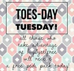 Toes day tuesday!! All buy 3 get 1 free orders placed today or any Tuesday get a Pedi pack free!! Order today at 208barbie.jamberrynails.net