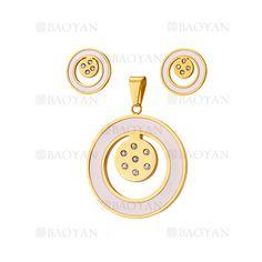 juego colgante y aretes de circulos brillante dorado acero inoxidable -SSSTG544050