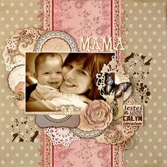 Mama ~ Sweet vintage look mother and child page.