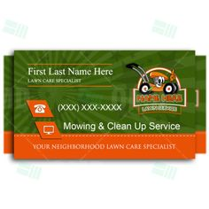 Kids Lawn Care Business Cards