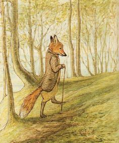 Illustration of Mr Tod from The Tale of Mr. Tod by Beatrix Potter Beatrix Potter Illustrations, Beatrice Potter, Peter Rabbit And Friends, Les Fables, Motifs Animal, Fox Art, Cumbria, Children's Book Illustration, Woodland Illustration
