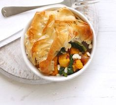 Butternut squash and spinach pie. This crispy pastry-topped pie is crammed full of vegetables so it contains all 5 of your recommended daily intake Bbc Good Food Recipes, Veggie Recipes, Vegetarian Recipes, Cooking Recipes, Healthy Recipes, Dishes Recipes, Savoury Recipes, Fun Recipes, Veggie Food