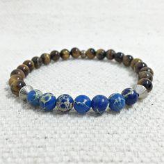 pulseira masculina pedras olho de tigre jaspe marinho bracelets mens fashion moda cocar brasil