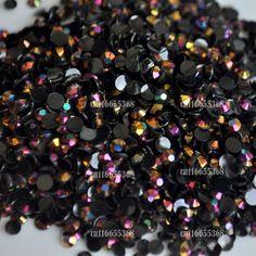 Jelly Nero LASER Oro Rosa AB 3mm sfaccettatura di cristallo resina della Parte Posteriore Piana Strass 1000 pz Nail art perle Caramelle #15