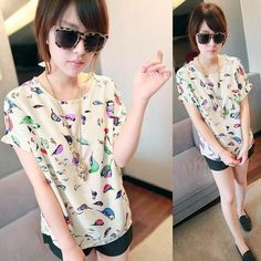 New Fashion Women Colorful Birds Chiffon T-shirt Batwing Loose Blouse  Casual Tee Tops 2 Colors a94335a58887