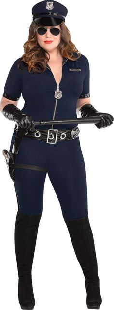 Adult Stop Traffic Sexy Cop Costume Plus Size - Party City