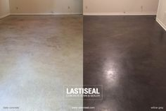 LastiSeal® Concrete Stain & Sealer applied to basement floor. COLOR: Willow Grey APPS: 1 application PREP: Etched with PowerEtch® Concrete Etcher & Cleaner QTY: 2-gallons