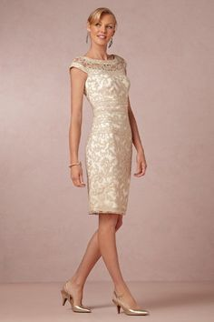 beautiful neutral cocktail length mother-of-the bride dress