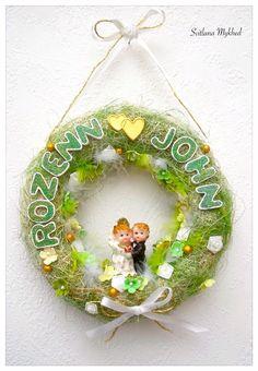 """Couronne de mariage """"Rozenn et John"""". Déco de mariage avec les prénoms des mariés (personnalisable) : Décorations murales par perles-et-couronnes"""