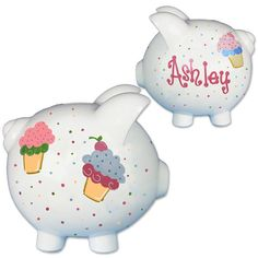 Personalized Cupcake Piggy Bank Hand Painted for Girl's Birthday - Ceramic Coin Bank Pastels PIGG-whi Ceramics Projects, Craft Projects, Project Ideas, Pink Piggy Bank, Penny Bank, Pastel Cupcakes, Personalised Cupcakes, Toddler Themes, Cupcake Wars