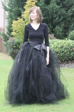 Black adult tutu, long black skirt, sewn tutus, Wide Satin sash, Wedding tutu, Prom dress. $355.00, via Etsy.
