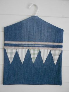 Handmade Peg Bag in Upcycled Denim and New FabricTrim/Lining