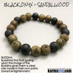 Yoga Bracelets Manifesting Meditation Tibetan Buddhist Beaded Mala Men & Women. #LOA Law of Attraction. Sandalwood  Buddha Black Onyx.