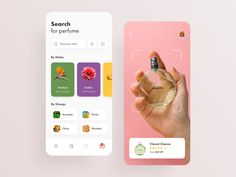 Fragrance Store: Perfume Search & AR Scan designed by Alex Pesenka. Connect with them on Dribbble; Perfume Hermes, Perfume Versace, Perfume Zara, Perfume Diesel, Ui Design Mobile, App Ui Design, User Interface Design, Bath Body Works, Dahlias